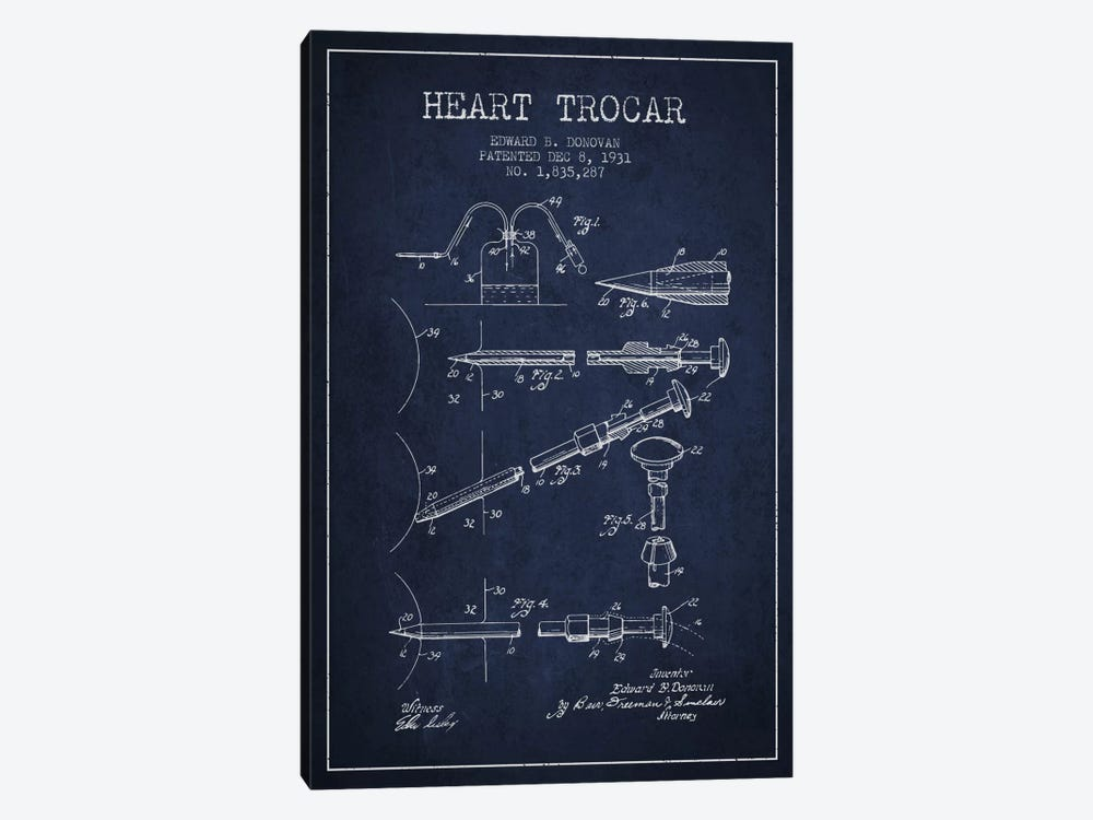 Heart Trocar Navy Blue Patent Blueprint by Aged Pixel 1-piece Art Print