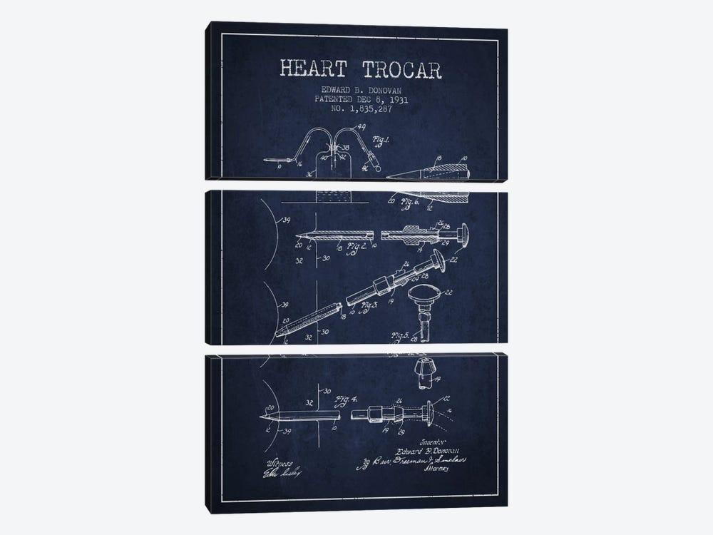 Heart Trocar Navy Blue Patent Blueprint by Aged Pixel 3-piece Canvas Art Print