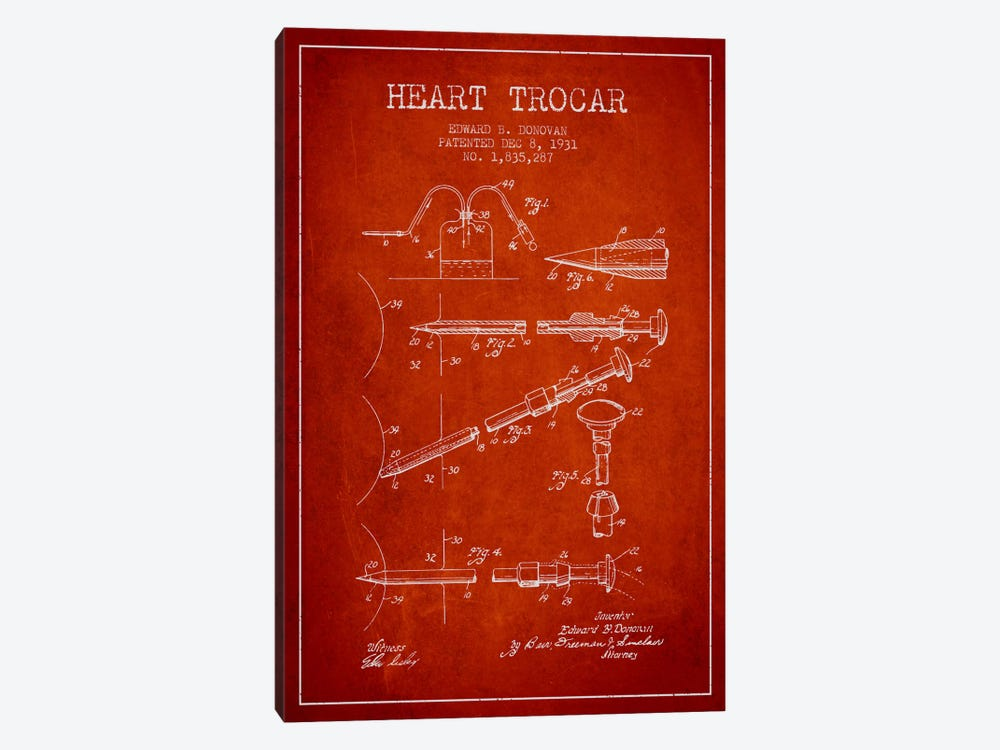 Heart Trocar Red Patent Blueprint by Aged Pixel 1-piece Canvas Artwork