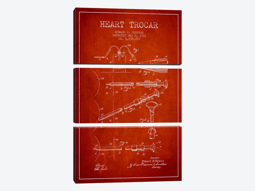 Heart Trocar Red Patent Blueprint by Aged Pixel 3-piece Canvas Art