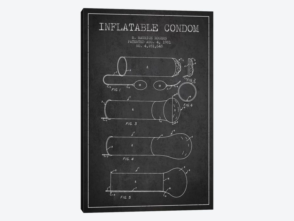 Inflatable Condom Charcoal Patent Blueprint by Aged Pixel 1-piece Art Print