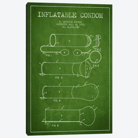Inflatable Condom Green Patent Blueprint Canvas Print #ADP1931} by Aged Pixel Canvas Artwork