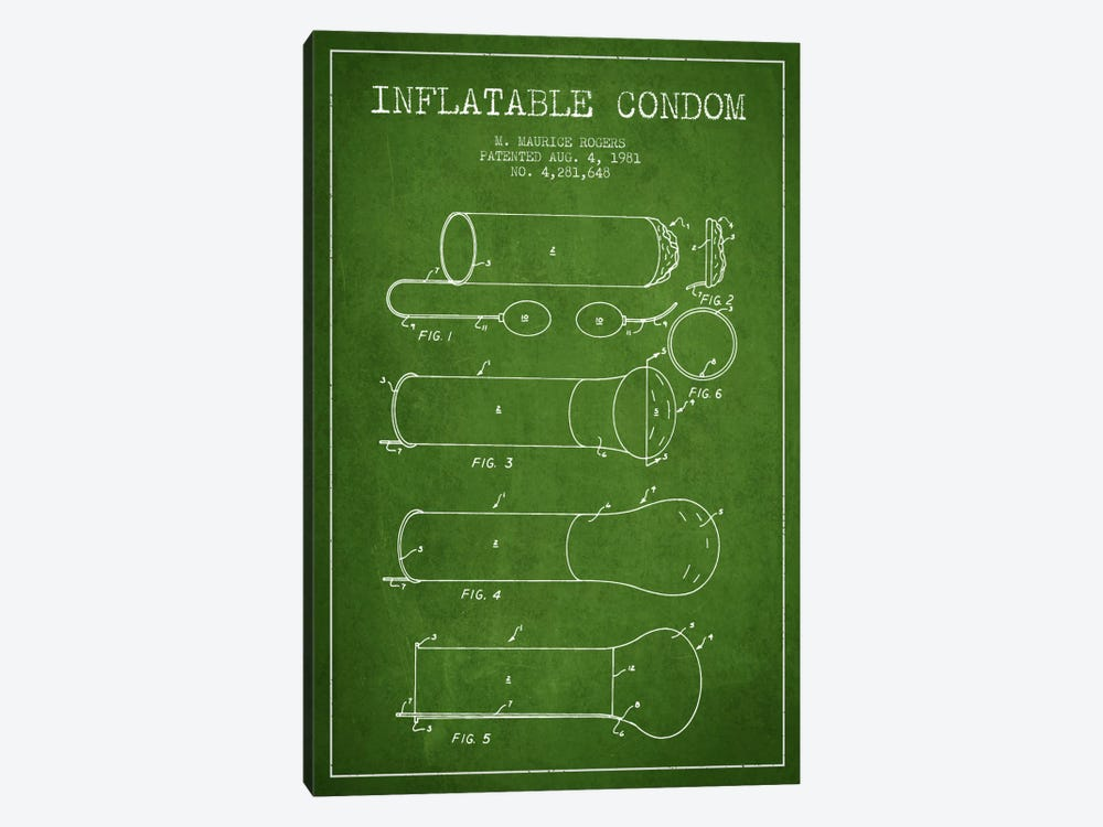 Inflatable Condom Green Patent Blueprint by Aged Pixel 1-piece Canvas Wall Art