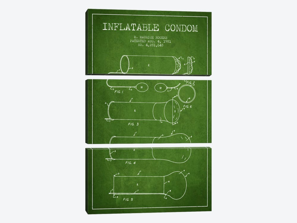 Inflatable Condom Green Patent Blueprint by Aged Pixel 3-piece Canvas Art