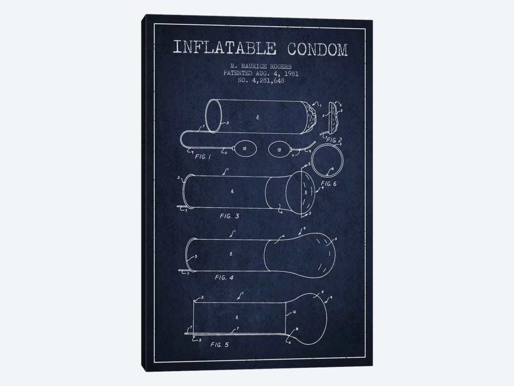 Inflatable Condom Navy Blue Patent Blueprint by Aged Pixel 1-piece Canvas Print