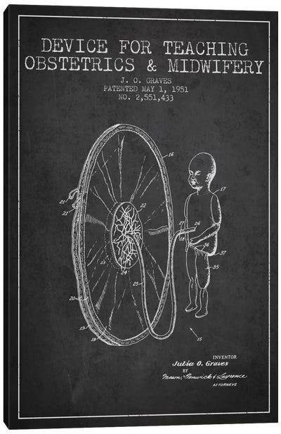 Midwife Charcoal Patent Blueprint Canvas Print #ADP1935