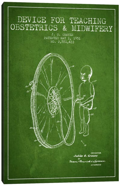 Midwife Green Patent Blueprint Canvas Print #ADP1936