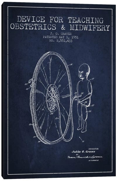 Midwife Navy Blue Patent Blueprint Canvas Print #ADP1937