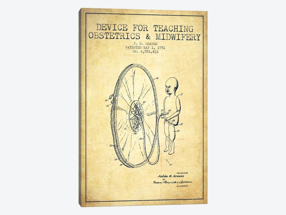 Midwife Vintage Patent Blueprint by Aged Pixel 1-piece Canvas Art