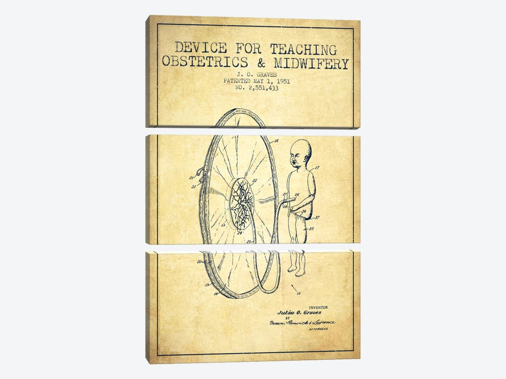 Midwife Vintage Patent Blueprint by Aged Pixel 3-piece Canvas Artwork