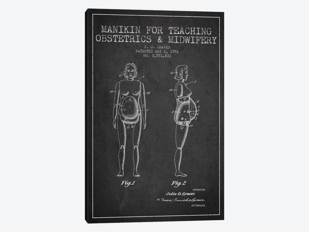 Midwife 1 Charcoal Patent Blueprint by Aged Pixel 1-piece Canvas Wall Art