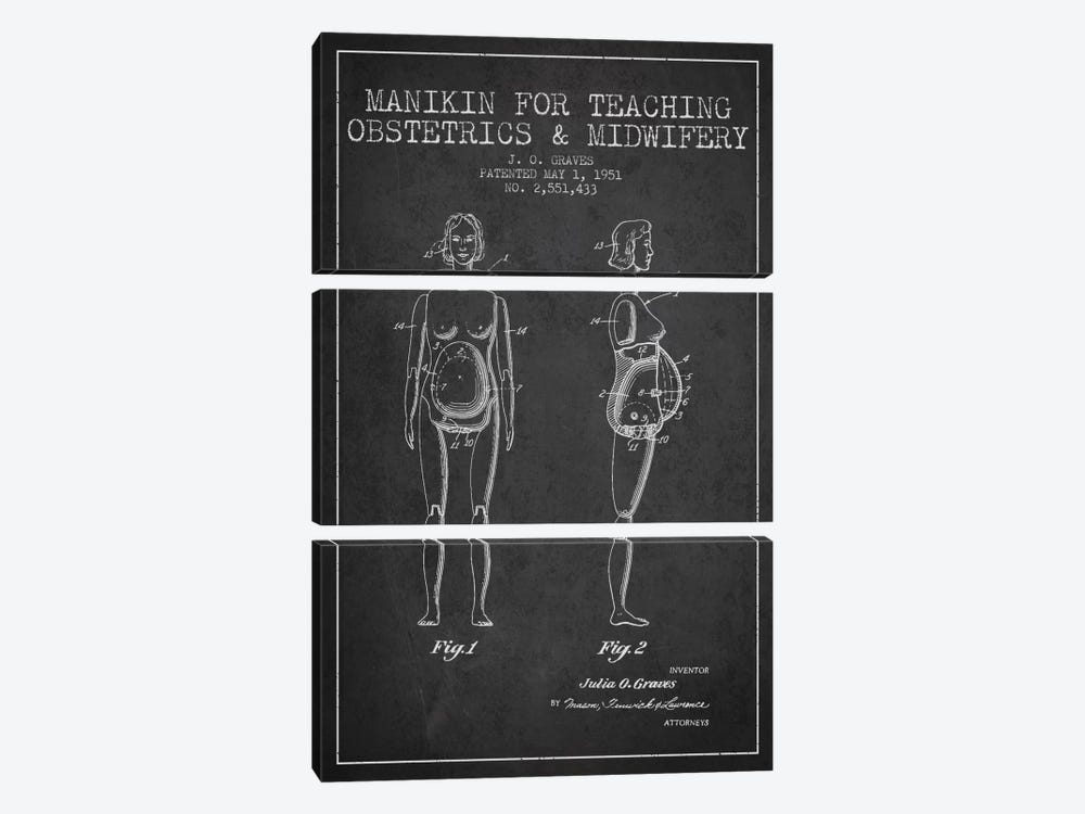 Midwife 1 Charcoal Patent Blueprint by Aged Pixel 3-piece Canvas Wall Art
