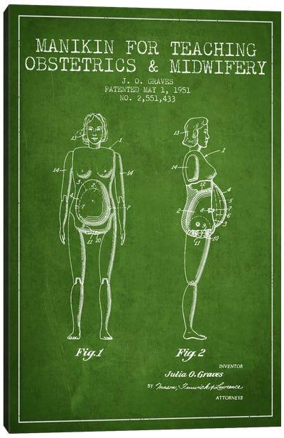 Midwife 1 Green Patent Blueprint Canvas Print #ADP1941