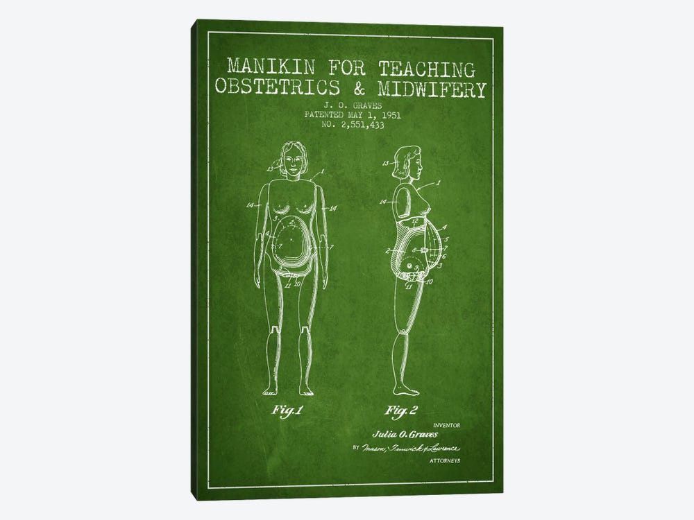 Midwife 1 Green Patent Blueprint by Aged Pixel 1-piece Art Print