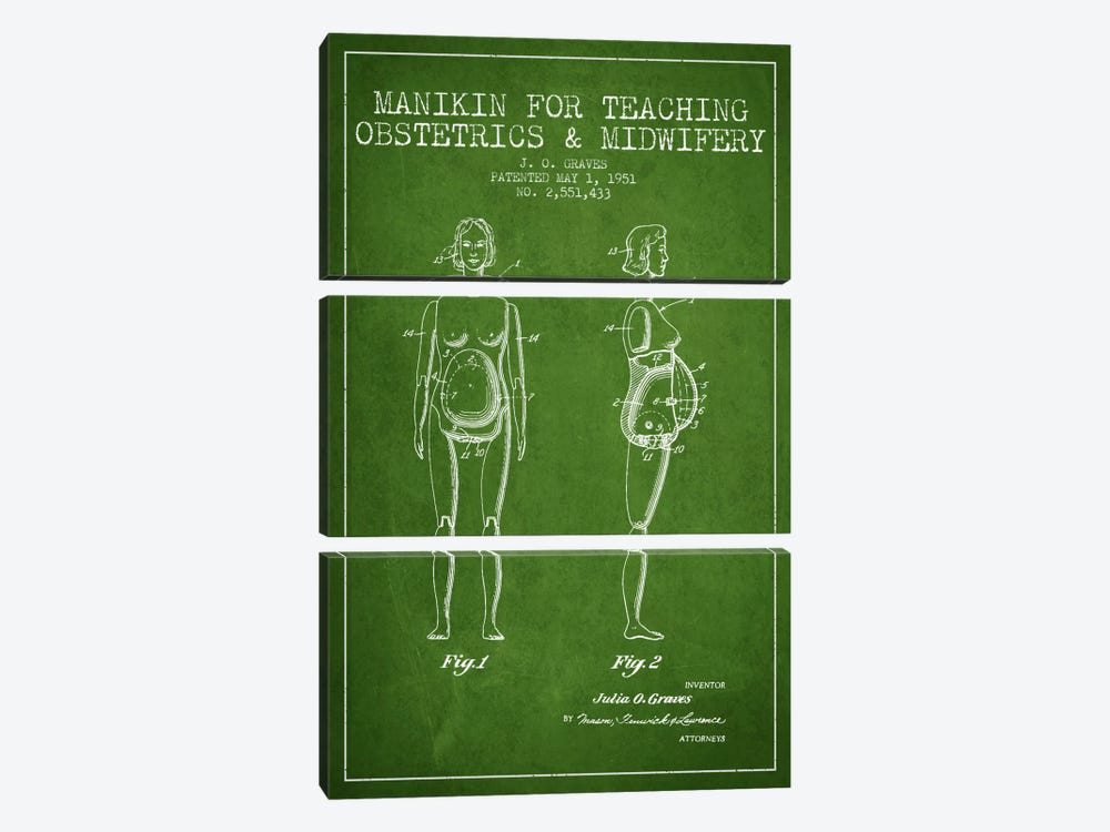 Midwife 1 Green Patent Blueprint by Aged Pixel 3-piece Art Print