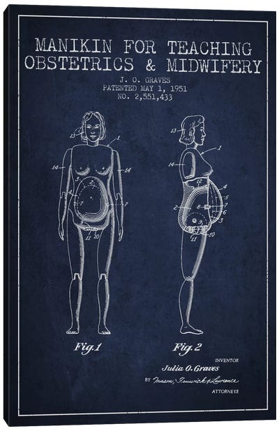 Midwife 1 Navy Blue Patent Blueprint Canvas Print #ADP1942