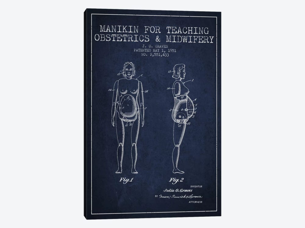 Midwife 1 Navy Blue Patent Blueprint by Aged Pixel 1-piece Canvas Artwork