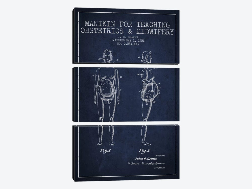 Midwife 1 Navy Blue Patent Blueprint by Aged Pixel 3-piece Canvas Art
