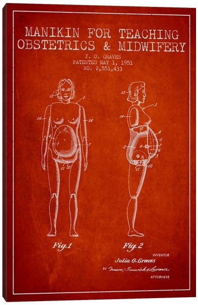 Midwife 1 Red Patent Blueprint Canvas Print #ADP1943