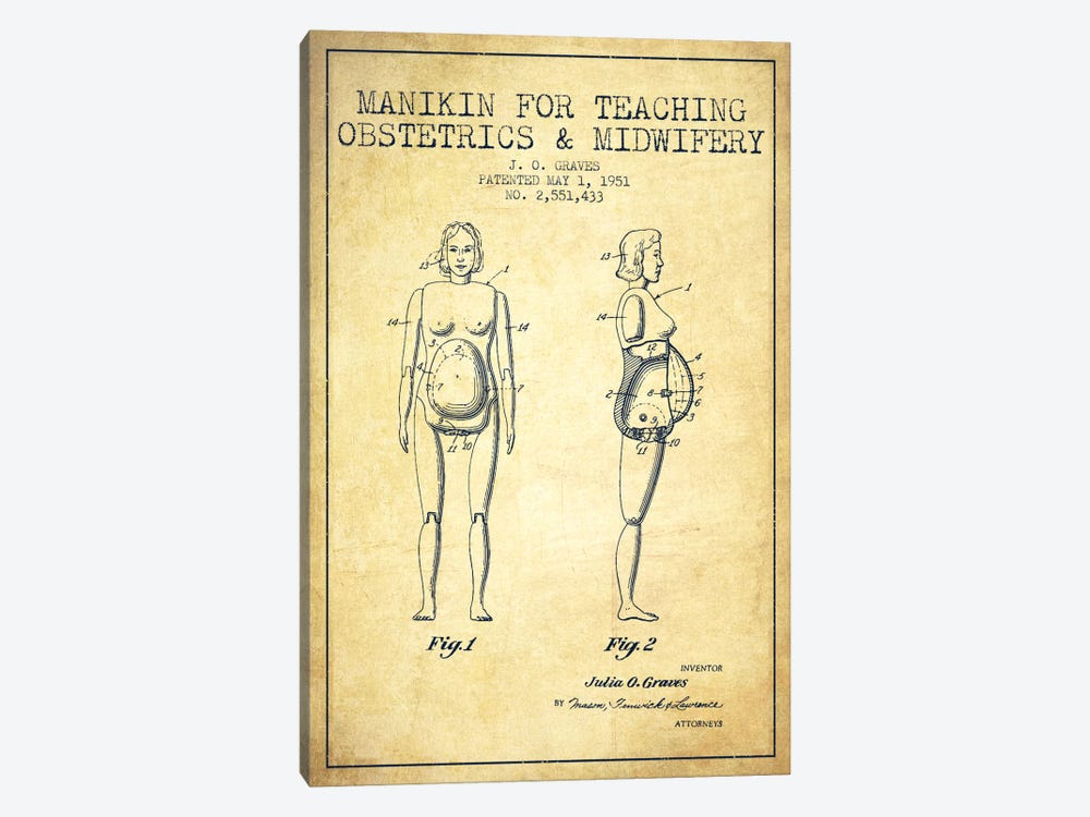 Midwife 1 Vintage Patent Blueprint by Aged Pixel 1-piece Canvas Art