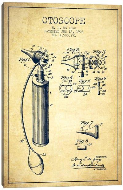 Otoscope Vintage Patent Blueprint Canvas Art Print