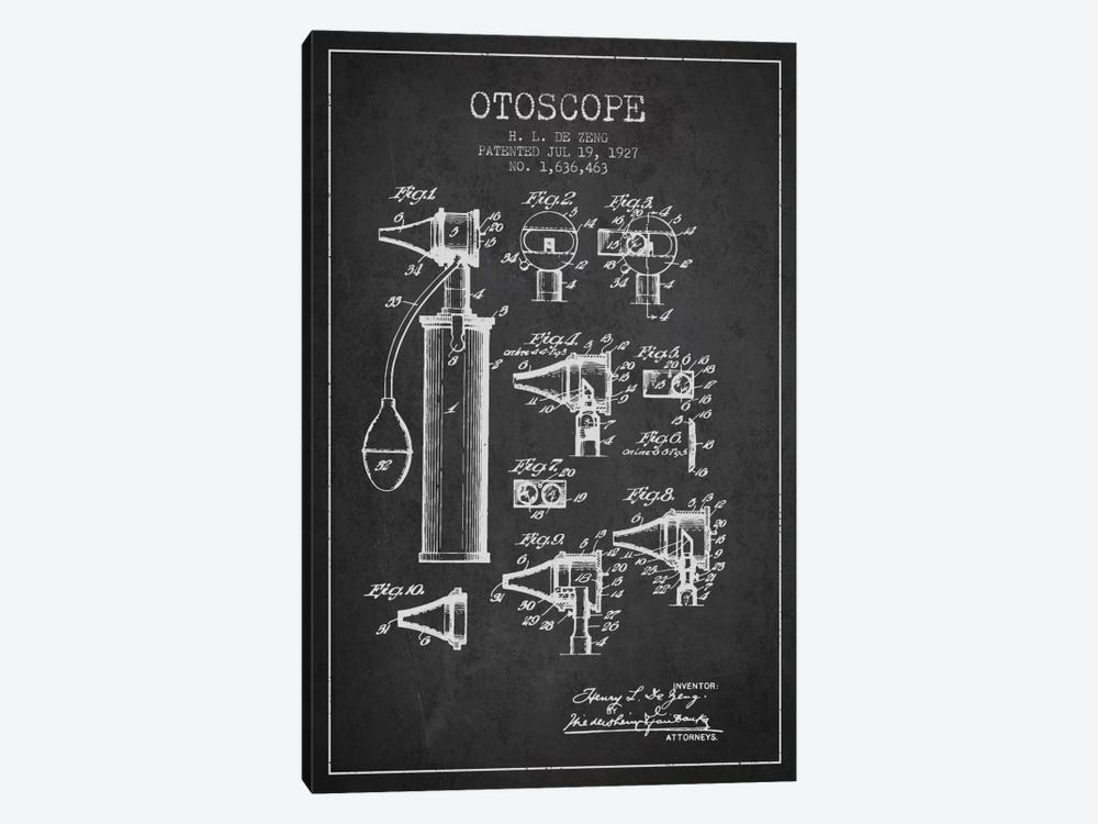 Otoscope 2 Charcoal Patent Blueprint by Aged Pixel 1-piece Canvas Print