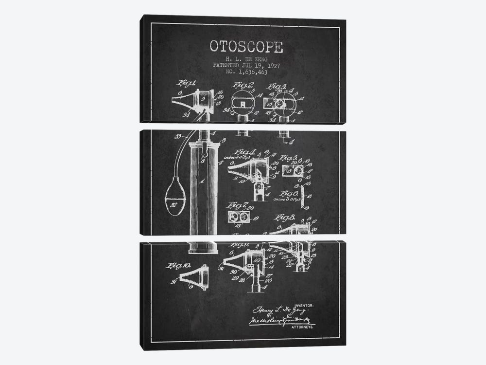 Otoscope 2 Charcoal Patent Blueprint by Aged Pixel 3-piece Canvas Art Print