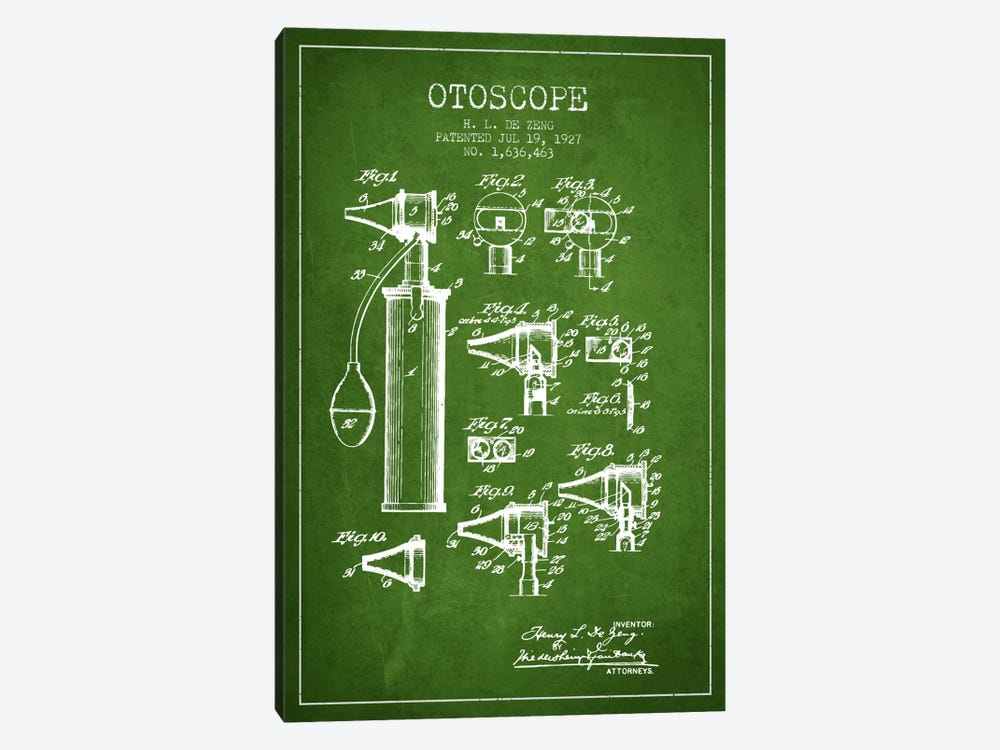 Otoscope 2 Green Patent Blueprint 1-piece Canvas Artwork