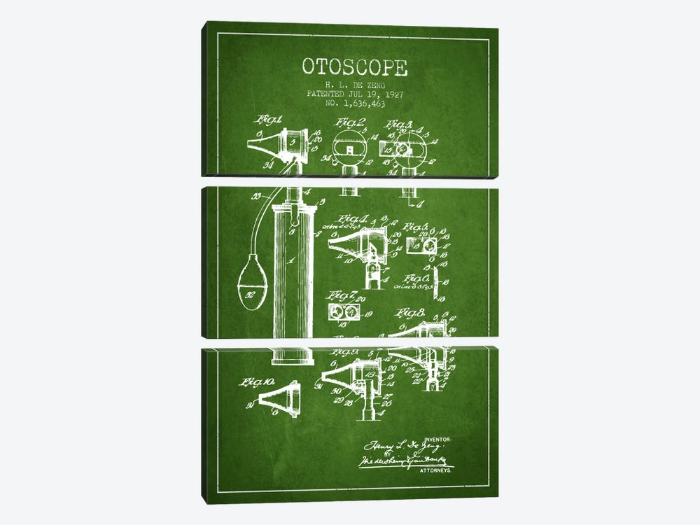 Otoscope 2 Green Patent Blueprint by Aged Pixel 3-piece Canvas Wall Art