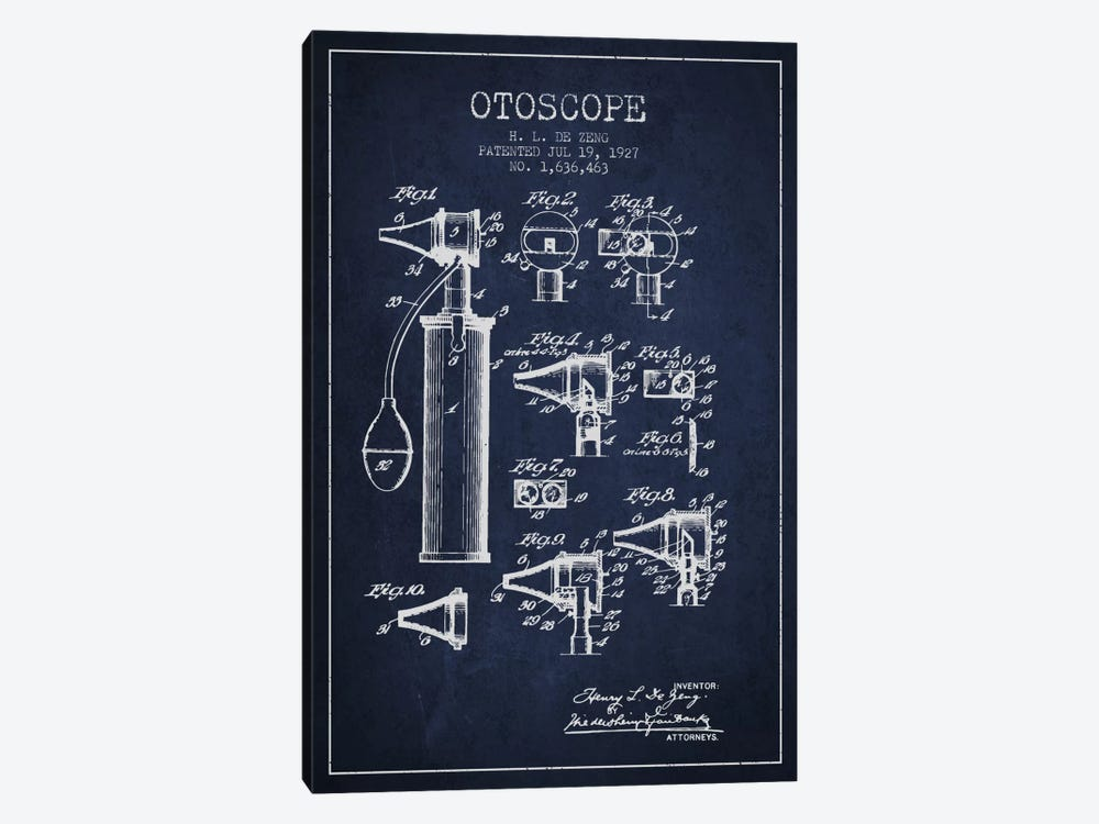 Otoscope 2 Navy Blue Patent Blueprint by Aged Pixel 1-piece Canvas Art Print