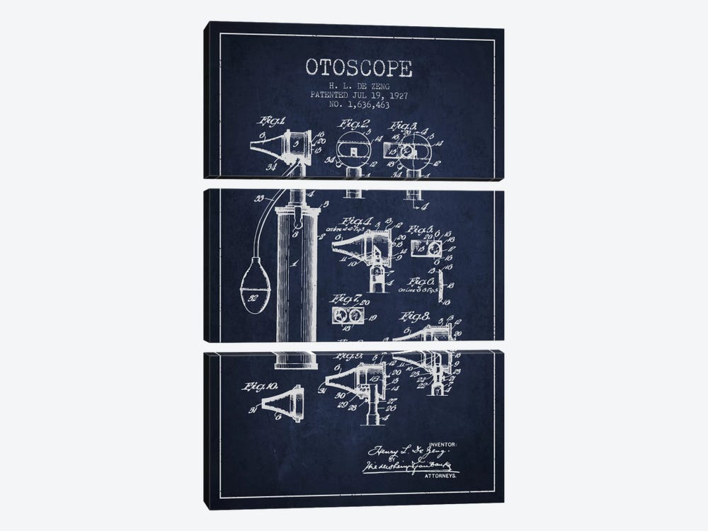 Otoscope 2 Navy Blue Patent Blueprint by Aged Pixel 3-piece Canvas Print