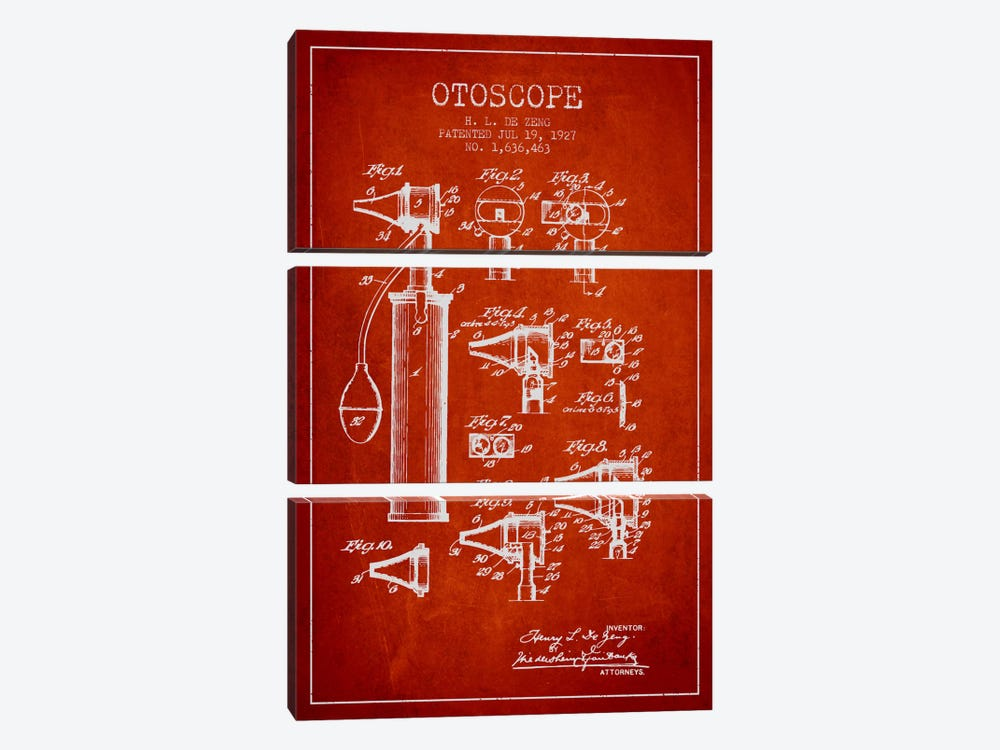 Otoscope 2 Red Patent Blueprint by Aged Pixel 3-piece Canvas Wall Art