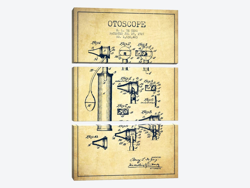 Otoscope 2 Vintage Patent Blueprint by Aged Pixel 3-piece Art Print
