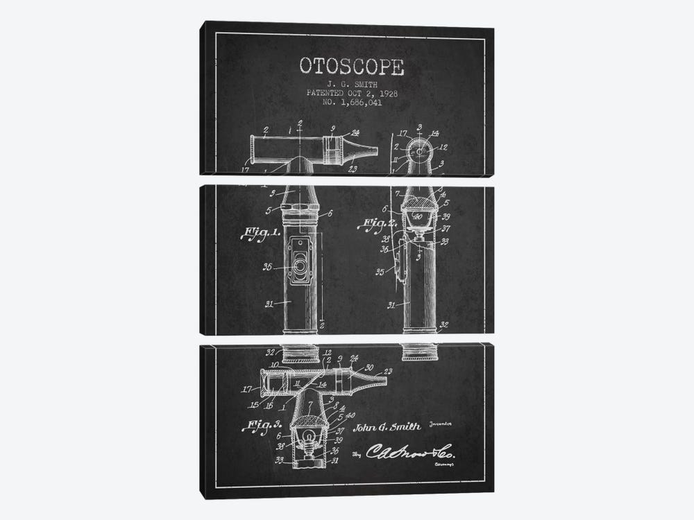 Otoscope 3 Charcoal Patent Blueprint by Aged Pixel 3-piece Canvas Artwork