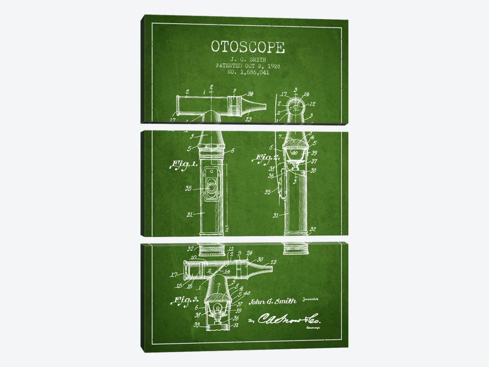 Otoscope 3 Green Patent Blueprint by Aged Pixel 3-piece Art Print