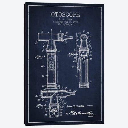 Otoscope 3 Navy Blue Patent Blueprint Canvas Print #ADP1957} by Aged Pixel Art Print