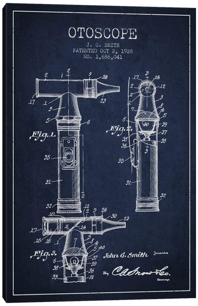 Otoscope 3 Navy Blue Patent Blueprint Canvas Art Print