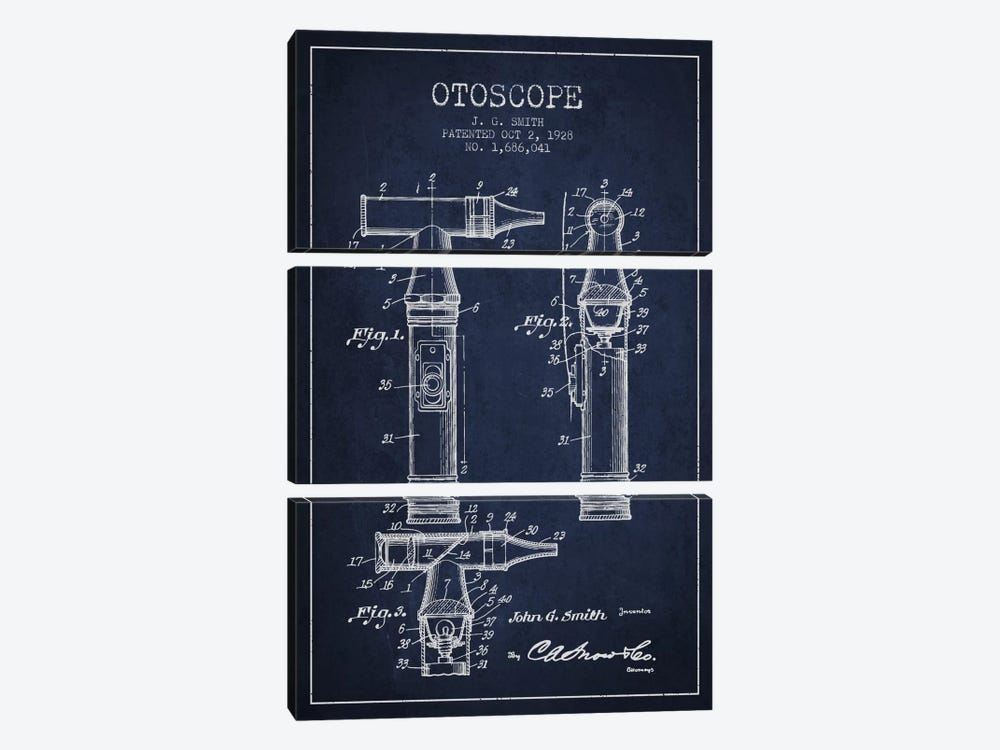Otoscope 3 Navy Blue Patent Blueprint by Aged Pixel 3-piece Canvas Wall Art