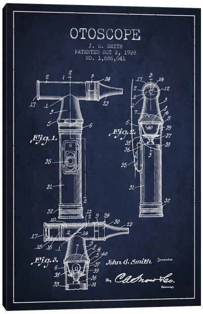 Otoscope 3 Navy Blue Patent Blueprint Canvas Art Print