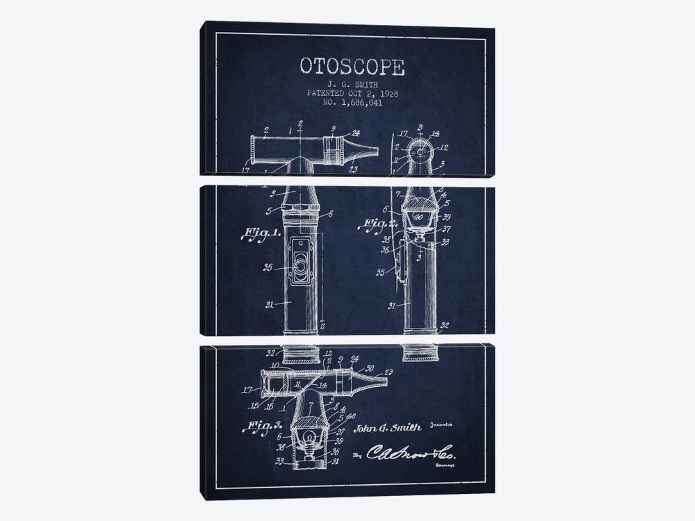Otoscope 3 Navy Blue Patent Blueprint by Aged Pixel 3-piece Canvas Wall Art