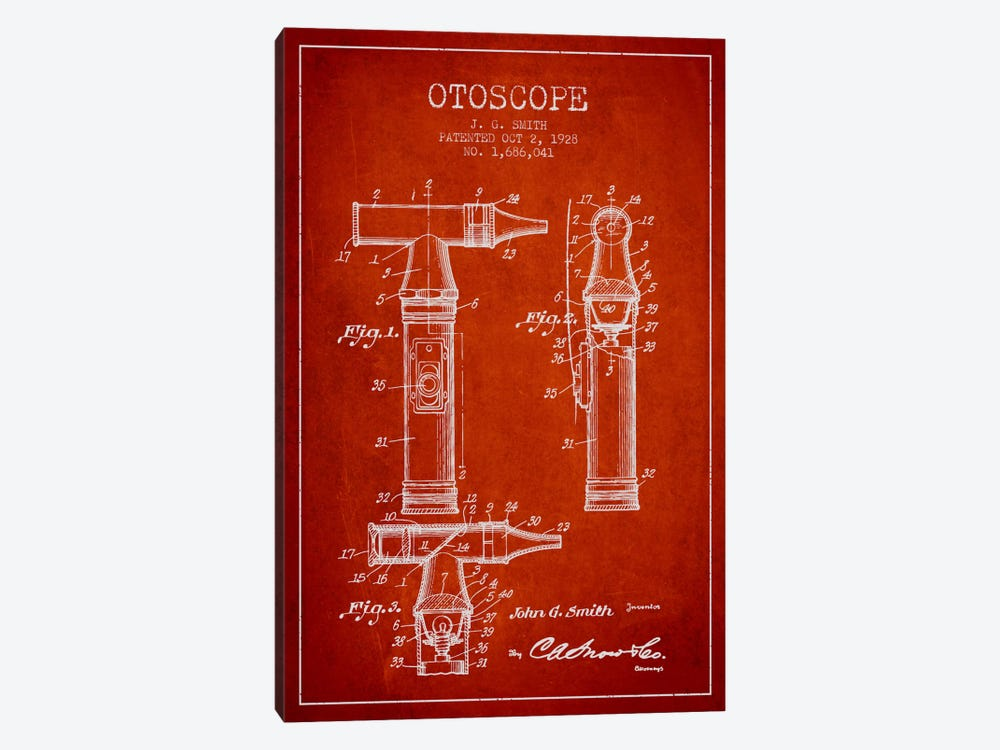 Otoscope 3 Red Patent Blueprint by Aged Pixel 1-piece Canvas Art Print