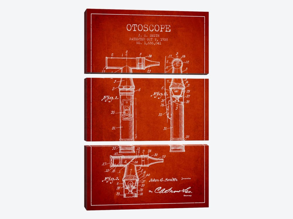 Otoscope 3 Red Patent Blueprint by Aged Pixel 3-piece Canvas Art Print