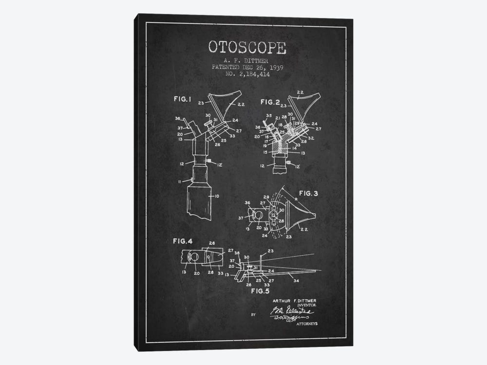 Otoscope 4 Charcoal Patent Blueprint by Aged Pixel 1-piece Canvas Art