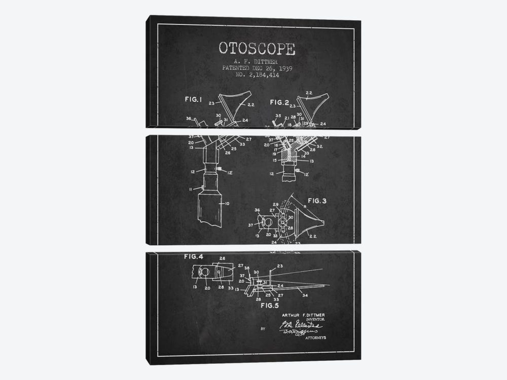Otoscope 4 Charcoal Patent Blueprint by Aged Pixel 3-piece Canvas Wall Art
