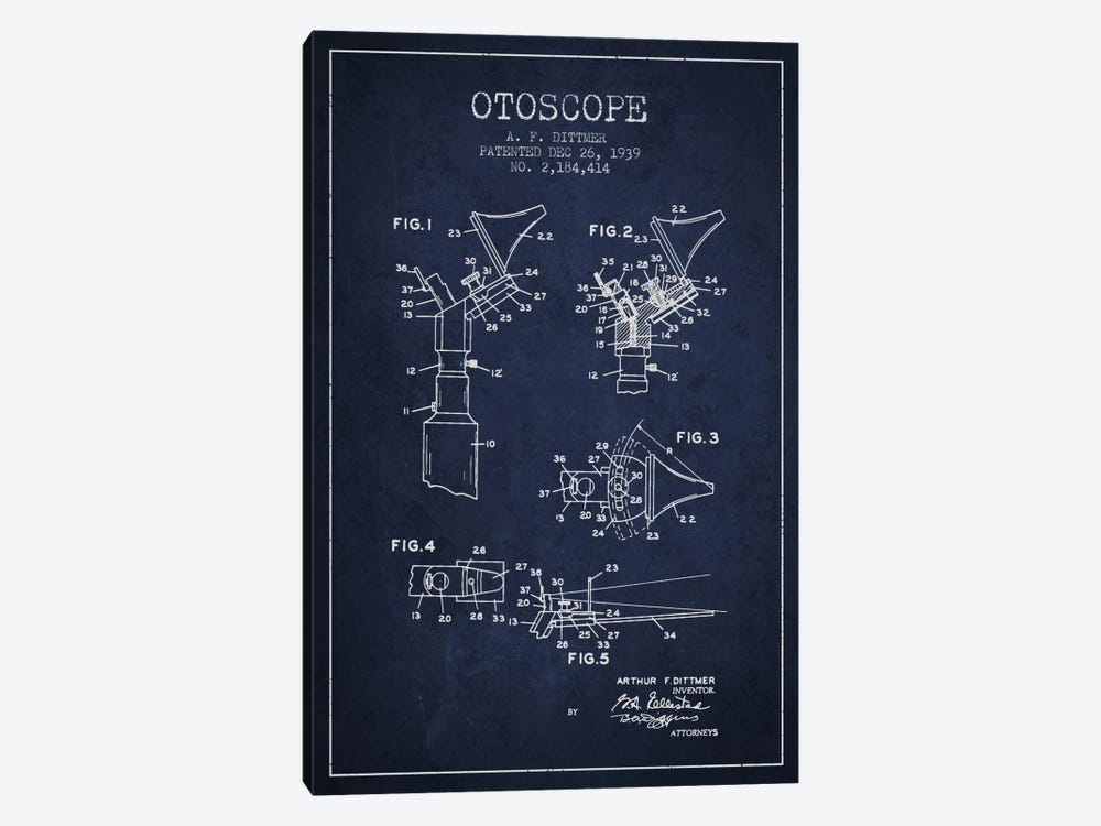 Otoscope 4 Navy Blue Patent Blueprint by Aged Pixel 1-piece Canvas Wall Art