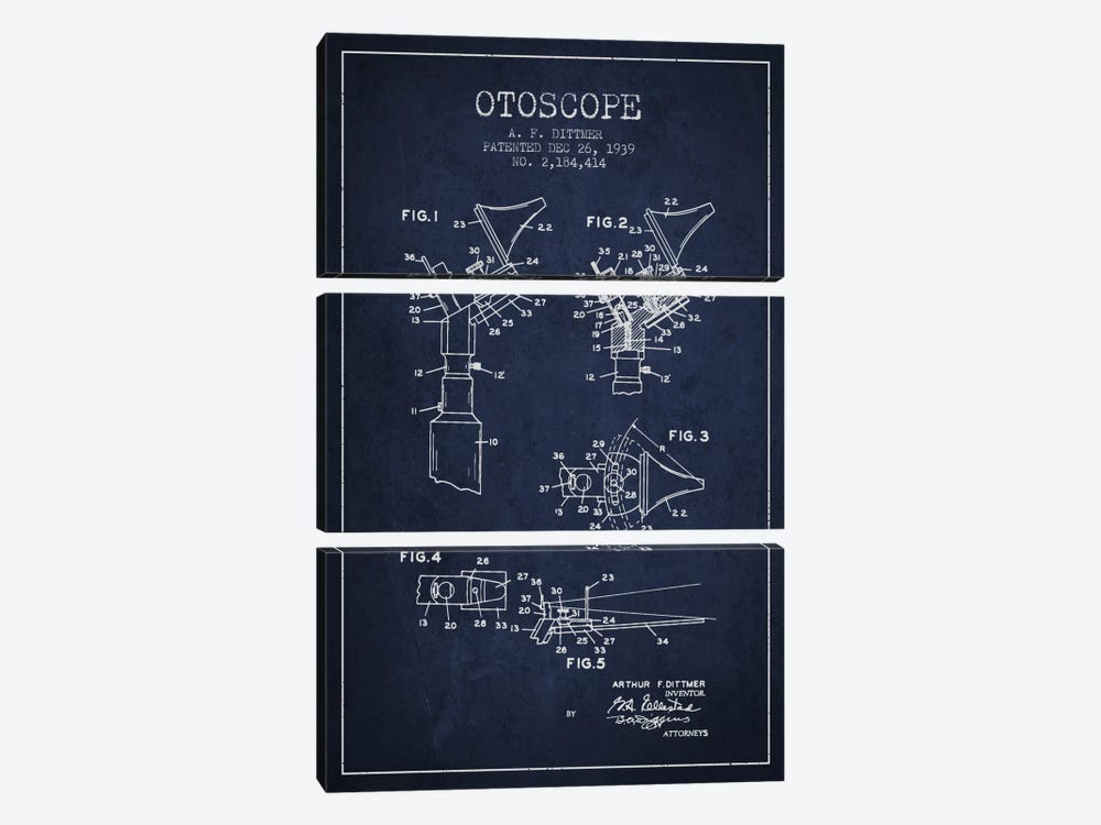 Otoscope 4 Navy Blue Patent Blueprint by Aged Pixel 3-piece Canvas Artwork