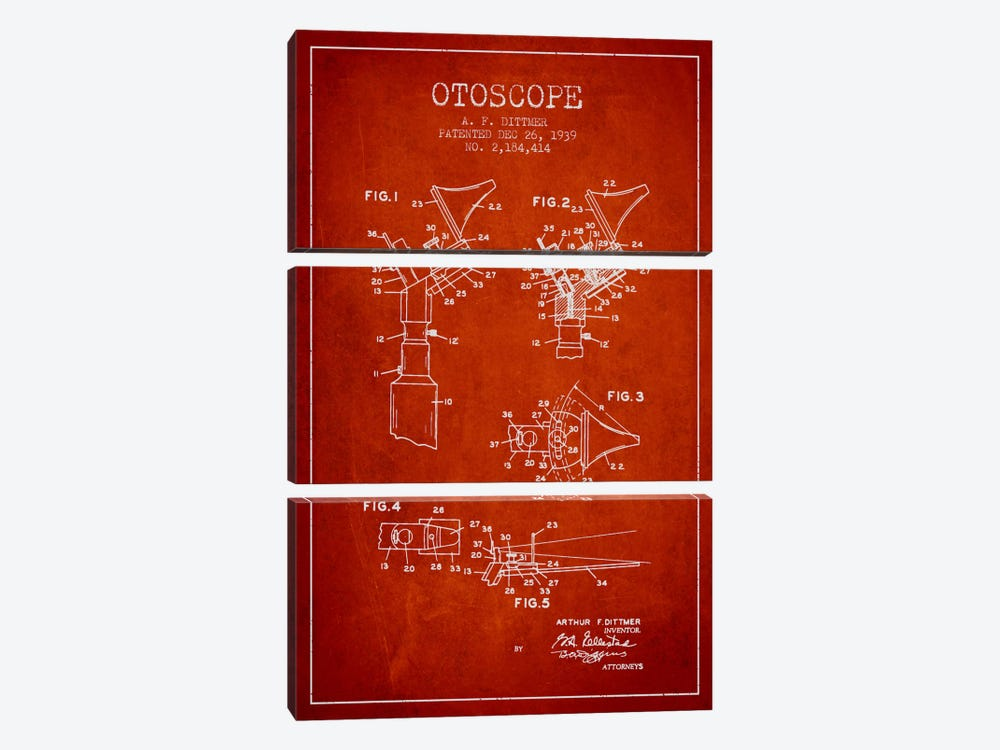 Otoscope 4 Red Patent Blueprint by Aged Pixel 3-piece Canvas Art Print