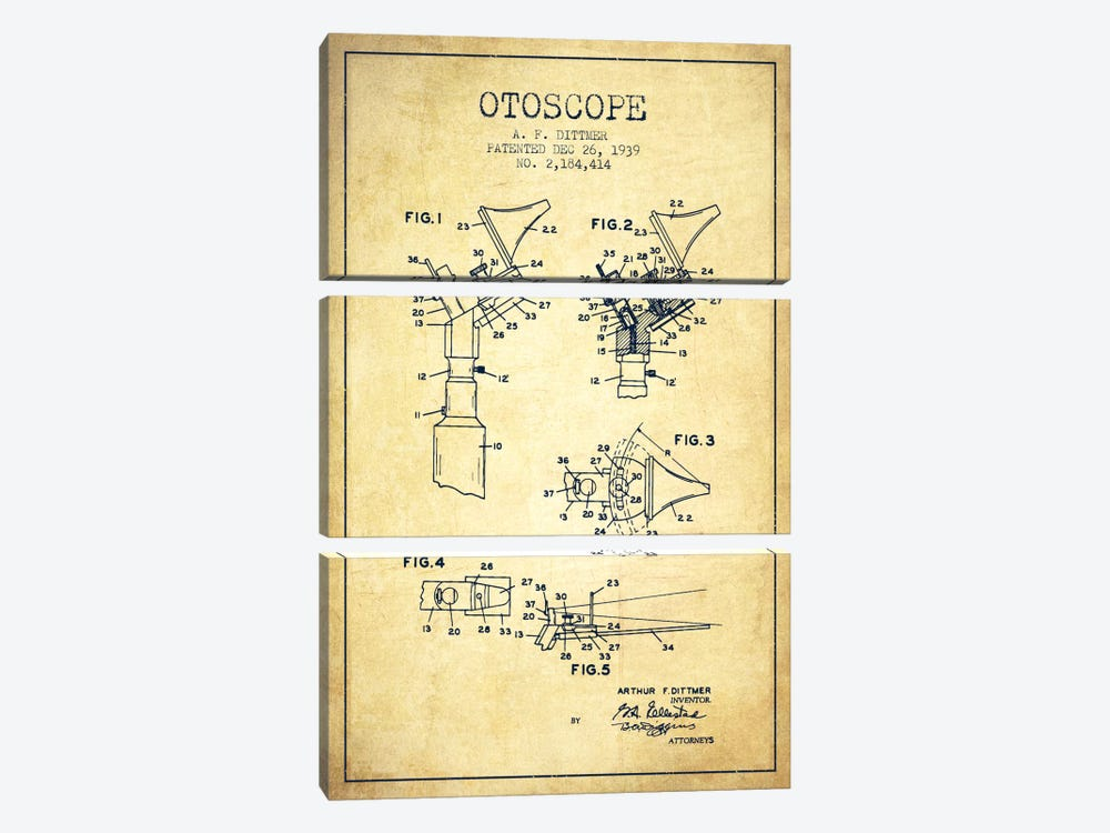 Otoscope 4 Vintage Patent Blueprint 3-piece Canvas Artwork