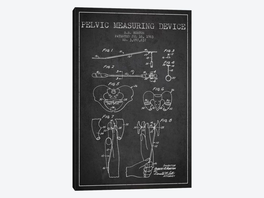 Pelvic Measuring Charcoal Patent Blueprint by Aged Pixel 1-piece Canvas Print