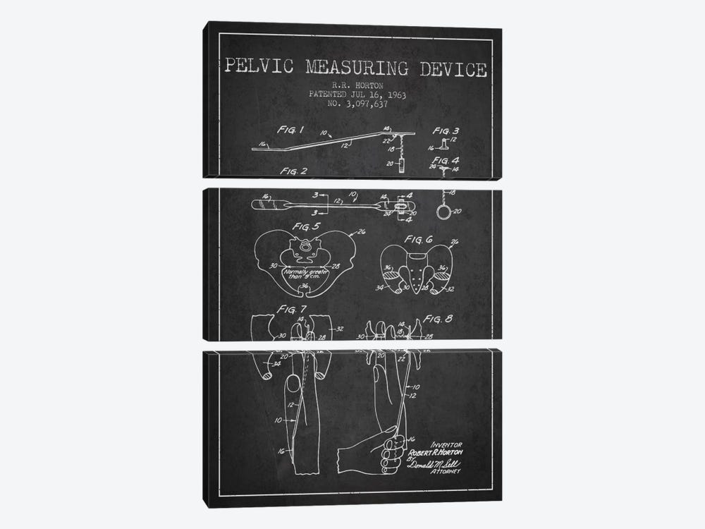 Pelvic Measuring Charcoal Patent Blueprint by Aged Pixel 3-piece Canvas Art Print